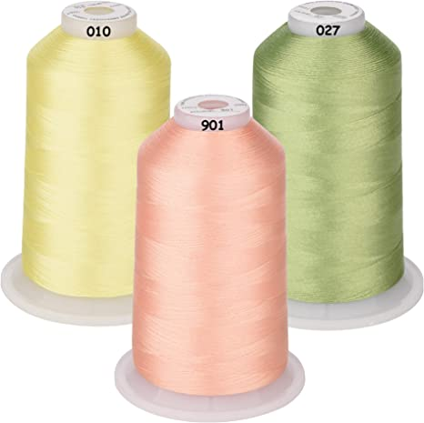 Essential Color 1 550Y Simthread New 32 Spool Packs Polyester Embroidery Machine Thread Kit 500M Each Spool
