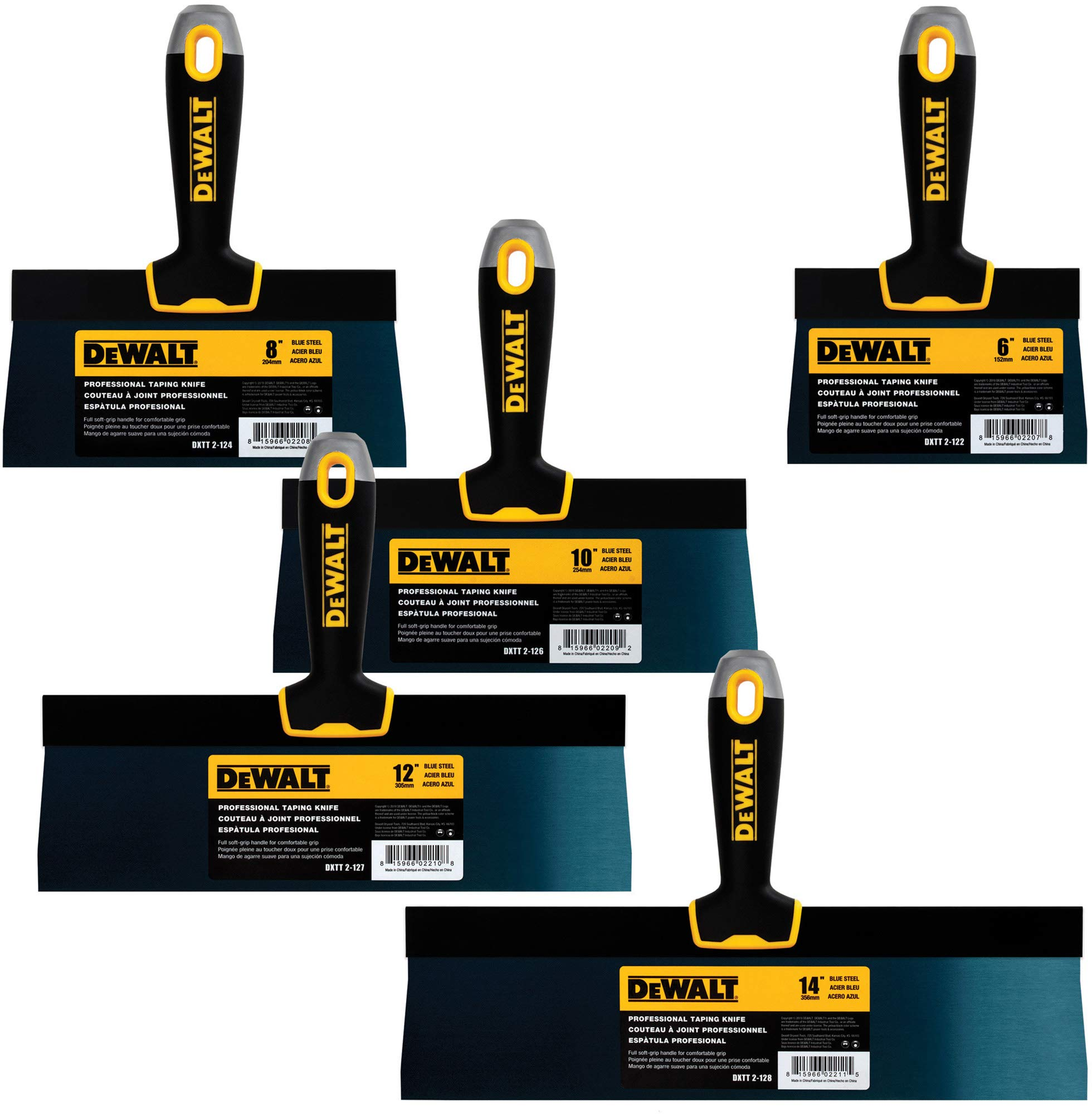 DEWALT Blue Steel Taping Knife 4-Pack | 8/10/12/14-Inches + FREE 6-Inch BONUS | Soft Grip Handles| DXTT-3-162 by DEWALT