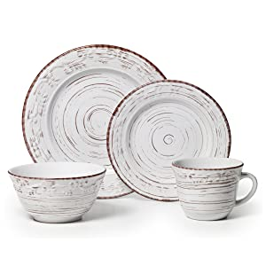 Pfaltzgraff 5217179 Trellis White 16-Piece Dinnerware Set, Service for 4