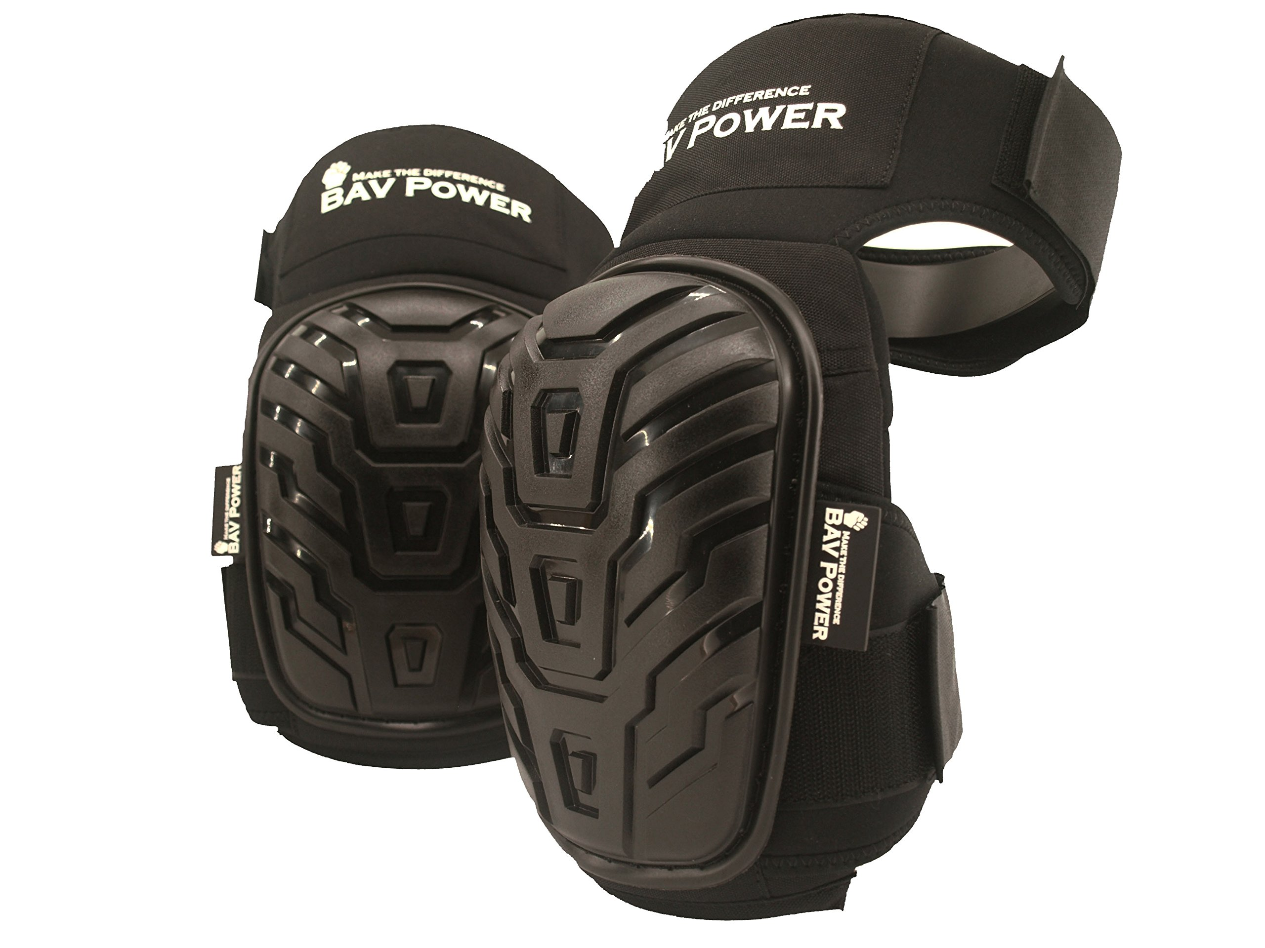 BAV Power Professional Durable Working Knee Pads-Black with Heavy Duty Foam Padding and Comfortable Gel Cushion, Strong Double Straps Adjustable