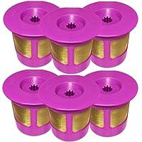 6-Pack Reusable Gold Plated Mesh Coffee Filters For Keurig 2.0 and 1.0 Brewers Fits K200/K250, K300/K350, K400/K450/K460, K500/K550/K560