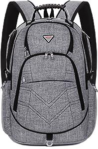 Laptop Backpack 18.4 Inch,SOCKO Nylon Water-Resistant Durable Travel Bag Hiking Knapsack Rucksack Backpack College Shoulder Back Pack for 18-18.4 Inches Laptop Notebook Computer,Grey