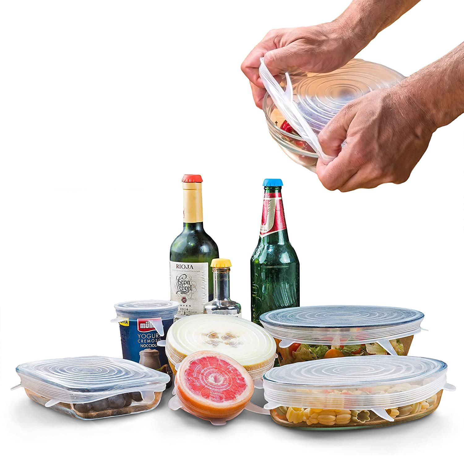 Reusable SILICONE STRETCH LIDS Set - 9 pack - No More Cling Wrap - Universal Expandable ECO-Friendly Ultimate Instalids, Clear Covers Stretch & Seal Various Sizes Bowls, Jars, Cups, Cans or Containers Cucina Carina CCSL1