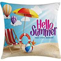 Lifestyle Decor Throw Pillow Cushion Cover by, Hello Summer Enjoy Every Moment Quote with Sandy Beach Umbrella Holiday Design, Decorative Square Accent Pillow Case, 18 X 18 Inches, Multi