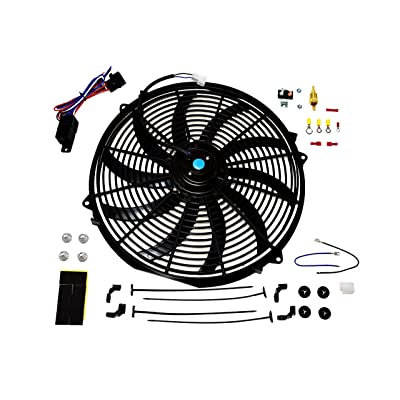 "A-Team Performance 140041 16"" Electric Radiator Cooling Fan Wide S-Curved 10 Blades Thermostat Kit 3000 CFM Reversible Push or Pull with Mounting Kit Heavy Duty 12Volts: Automotive"