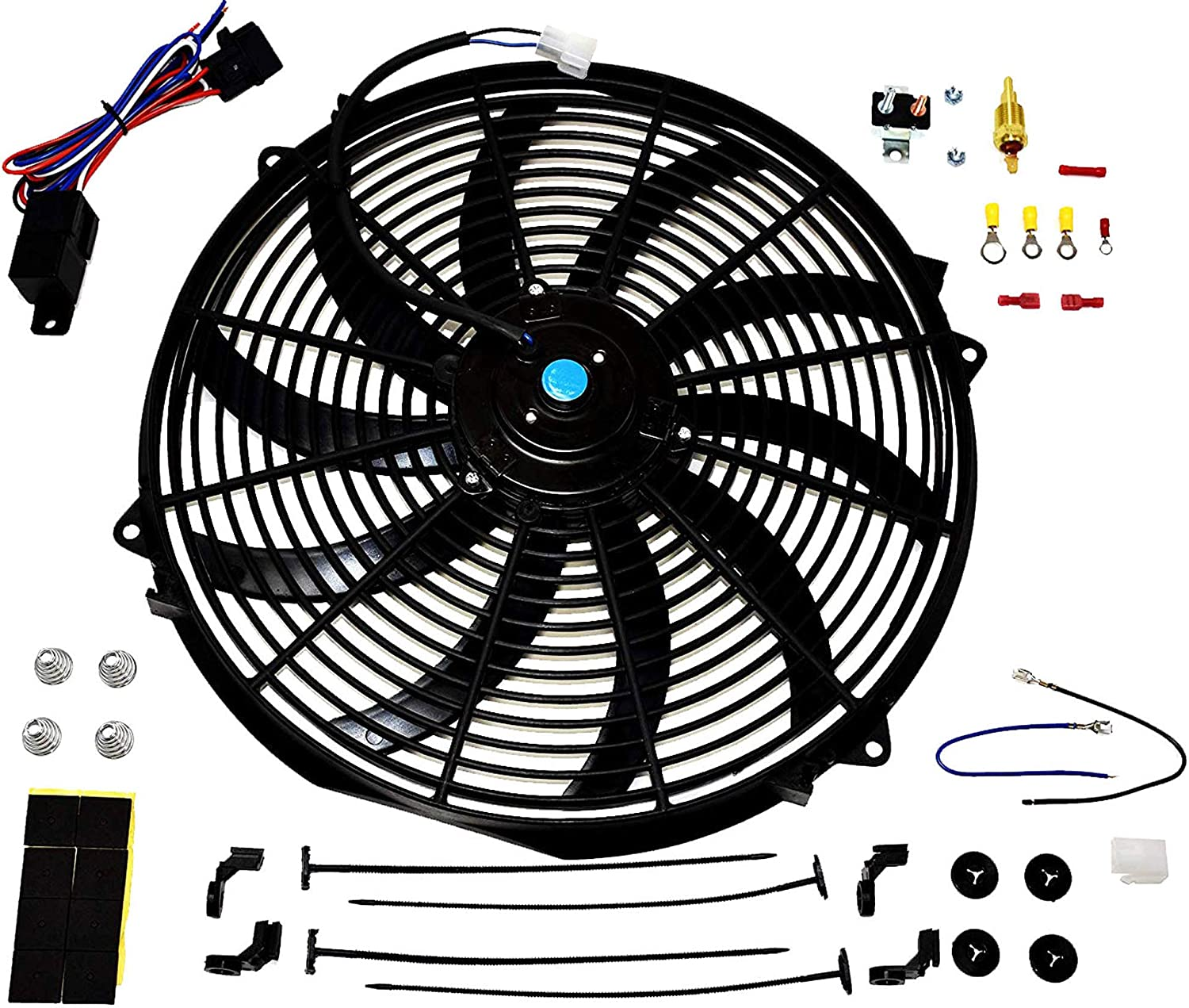 "A-Team Performance 140041 16"" Heavy Duty 12V Radiator Electric Wide Curved S Blade FAN & Thermostat Kit, 3000 CFM Reversible Push or Pull with Mounting Kit"