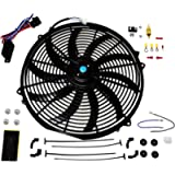A-Team Performance 16' Electric Radiator Cooling Fan Wide S-Curved 10 Blades Thermostat Kit 3000 CFM Reversible Push or…