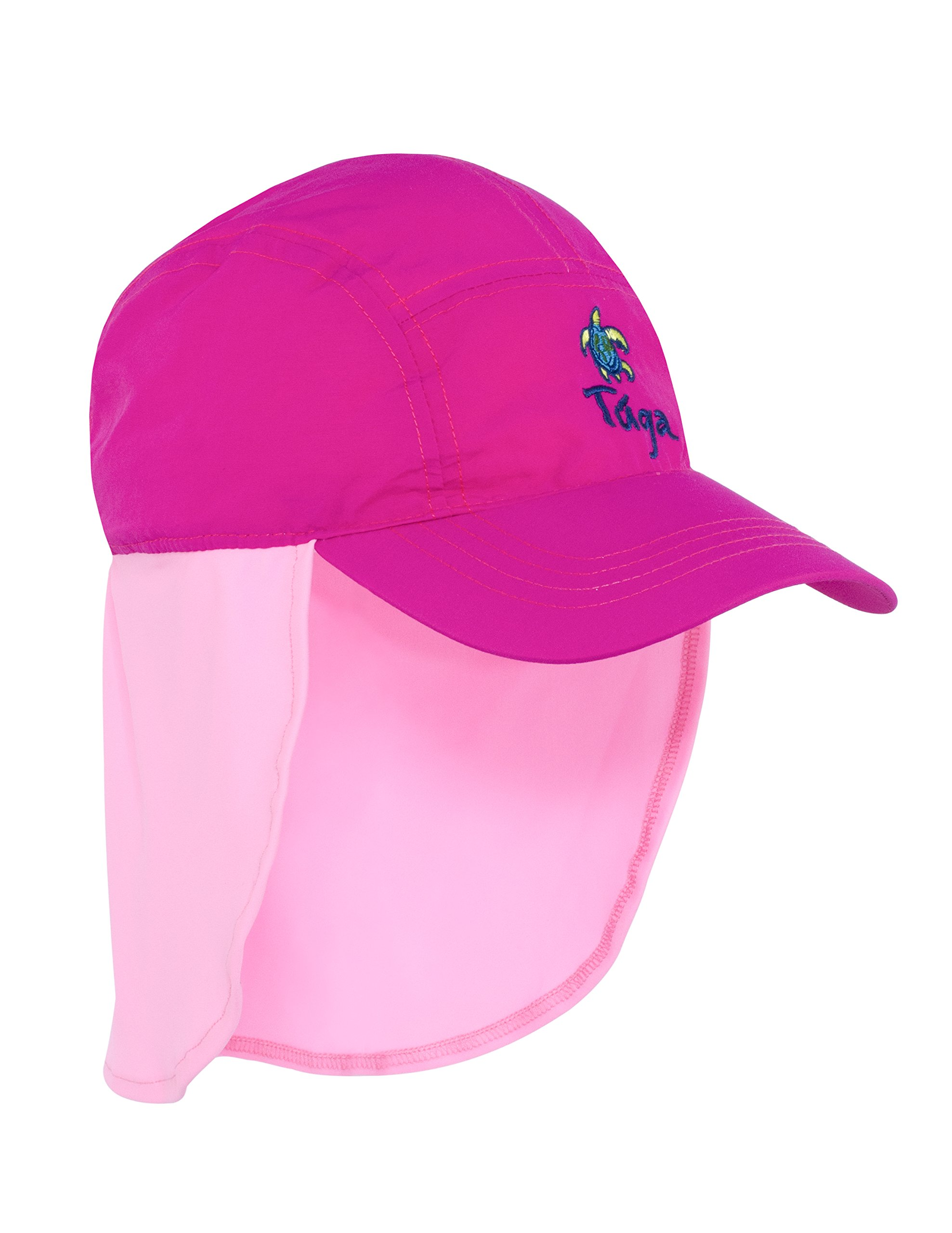 Tuga Girls Flap Hat (UPF 50+), Fuchsia/Raspberry, Large