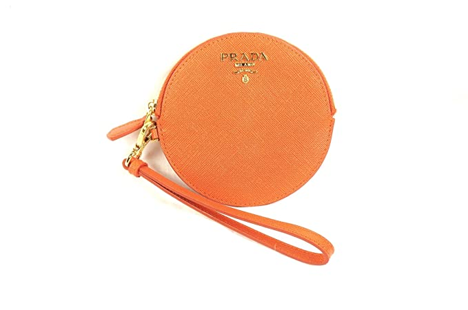 ee691e45ae40 PRADA 1M1443 Saffiano Leather Zip Wallet Coin Purse Wristlet Papaya ...