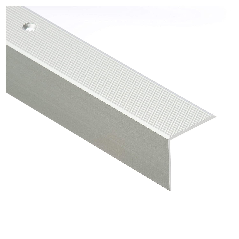 Silber CEZAR W-AL-30R-C0-100 Treppenprofil//Treppenkantenprofil//Winkelprofil mit Riffelung geriffelt