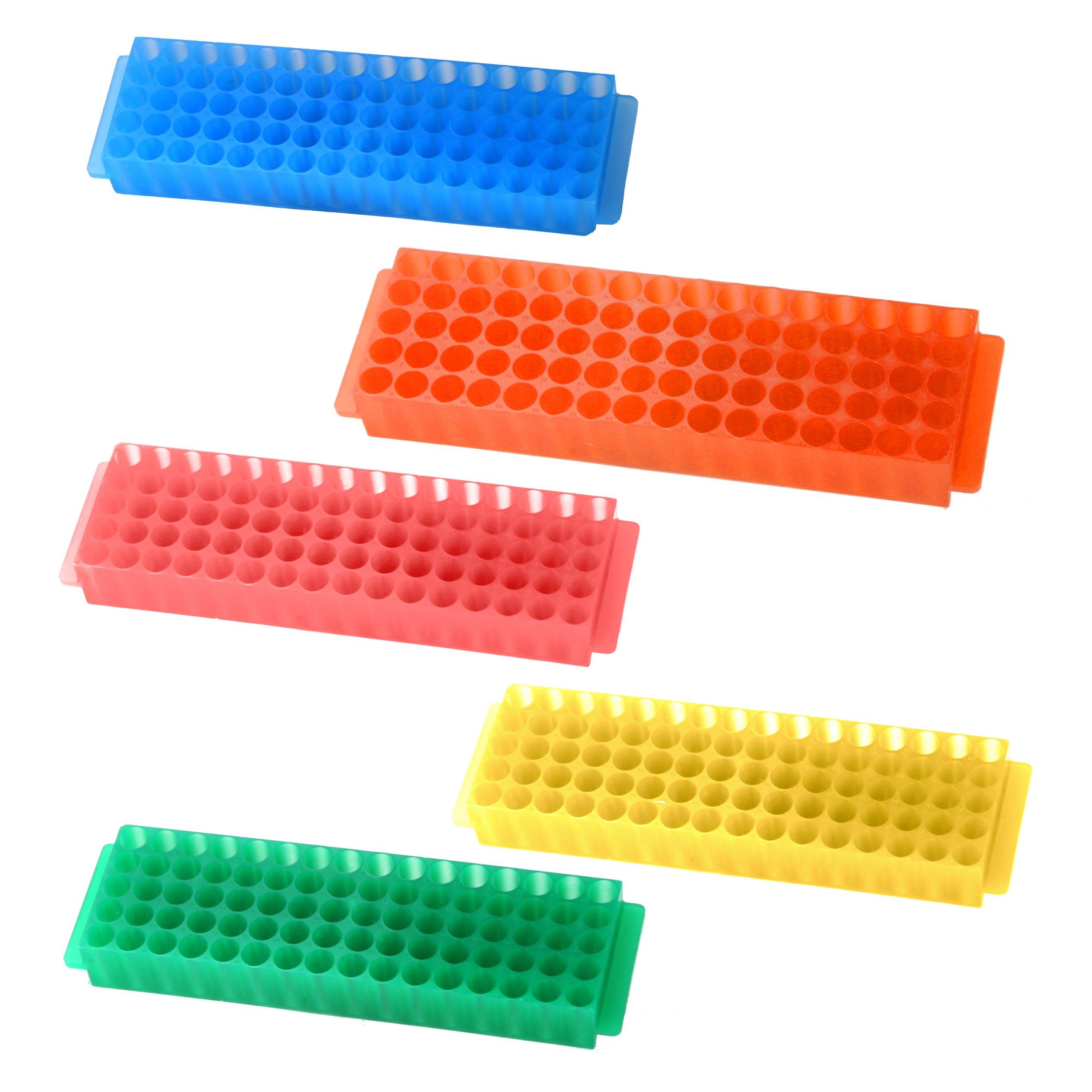 Bio Plas 0061 Assorted Polypropylene Microcentrifuge PCR Tube Rack, 80-Well, Pack of Five