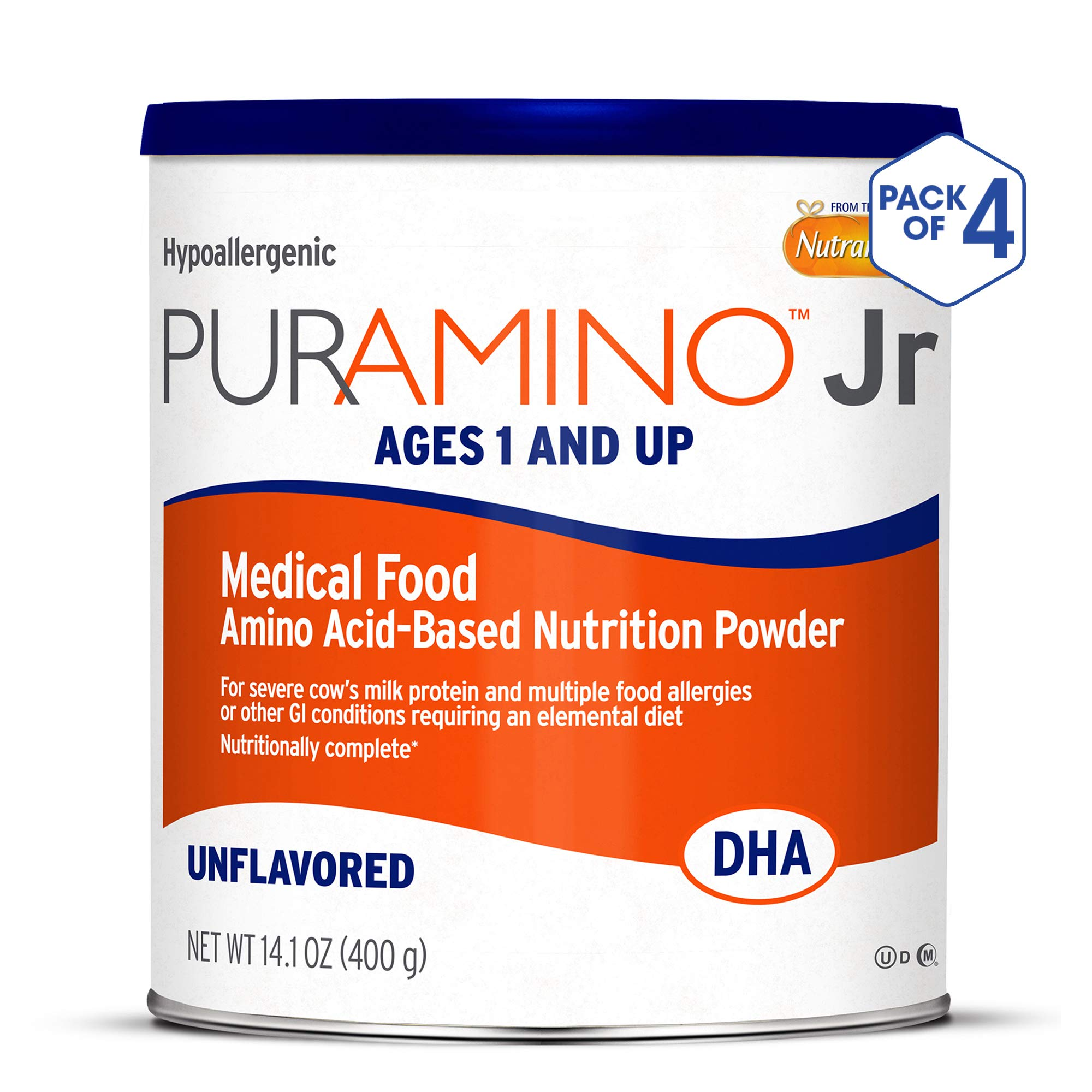 PurAmino Junior Hypoallergenic Unflavored Toddler Drink Powder for Severe Food Allergies, 14.1 Ounce (Pack of 4) - Omega 3 DHA, Probiotics, Iron, Immune Support by PurAmino