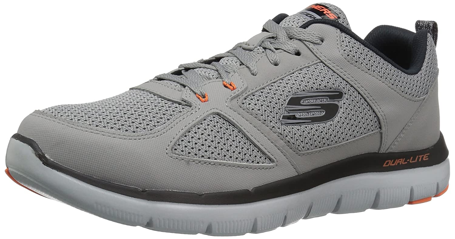 Skechers Sport Men's Flex Advantage 2.0 Sneaker B01J21XUNQ 10 2E US|Light Gray/Orange