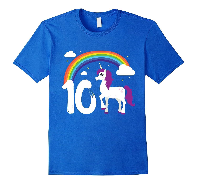 10th Birthday Girl Unicorn Rainbow Cloud Party T-Shirt Gift-Art