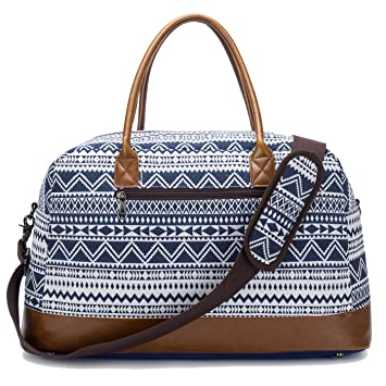 Weekender Duffel Bag for Women Mens Canvas Overnight Travel Carry-on Tote  Bags (Blue) c6cccb6c5e2dc