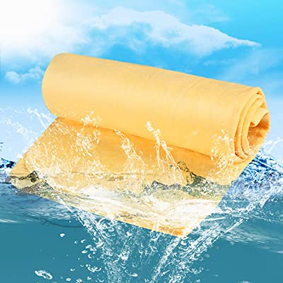 Chamois Cloth for Car, McoMce Soft Car Drying Towel, the Absorber Drying Synthetic Chamois, Environmental and Durable Car Chamois, All-Purpose Chamois Towel for Car, Hair, Pet, Furniture Etc, Yellow: Health & Personal Care