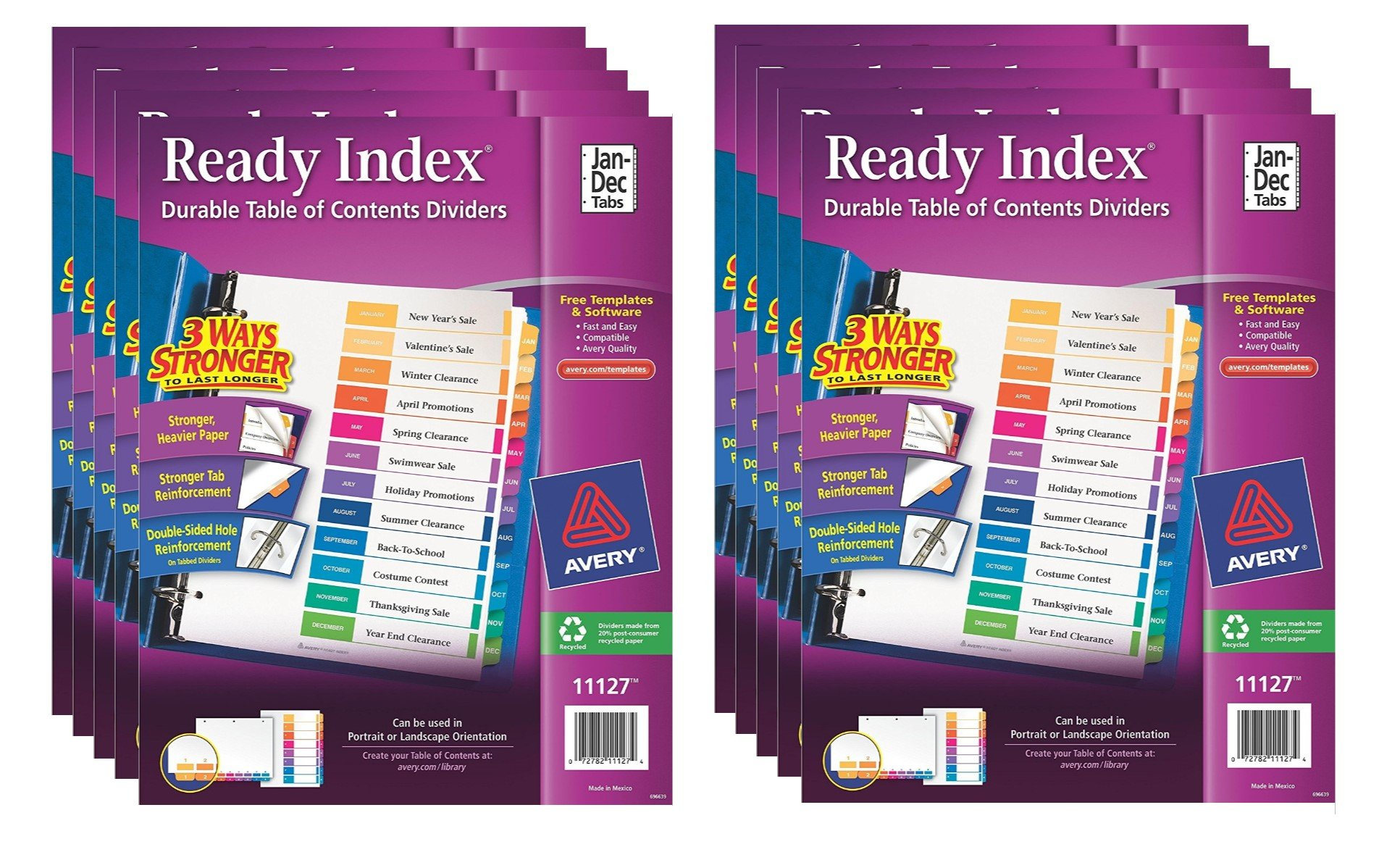 Avery Ready Index Table of Contents Dividers, Jan-Dec, 12 Tabs, 10 Sets (11127)