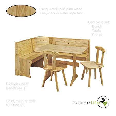 Kitchen dining table and chairs Wood dining room set Breakfast table set Corner  sc 1 st  Amazon UK & Kitchen dining table and chairs Wood dining room set Breakfast ...