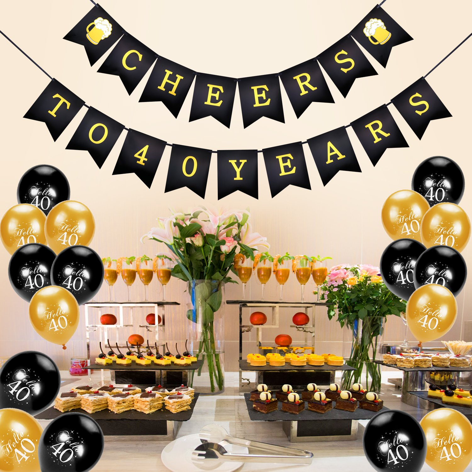 Konsait Cheers To 40 Birthday BannerHello Balloons Black And Goldfor Man Women Celebration 40th For Years Old Party Decor