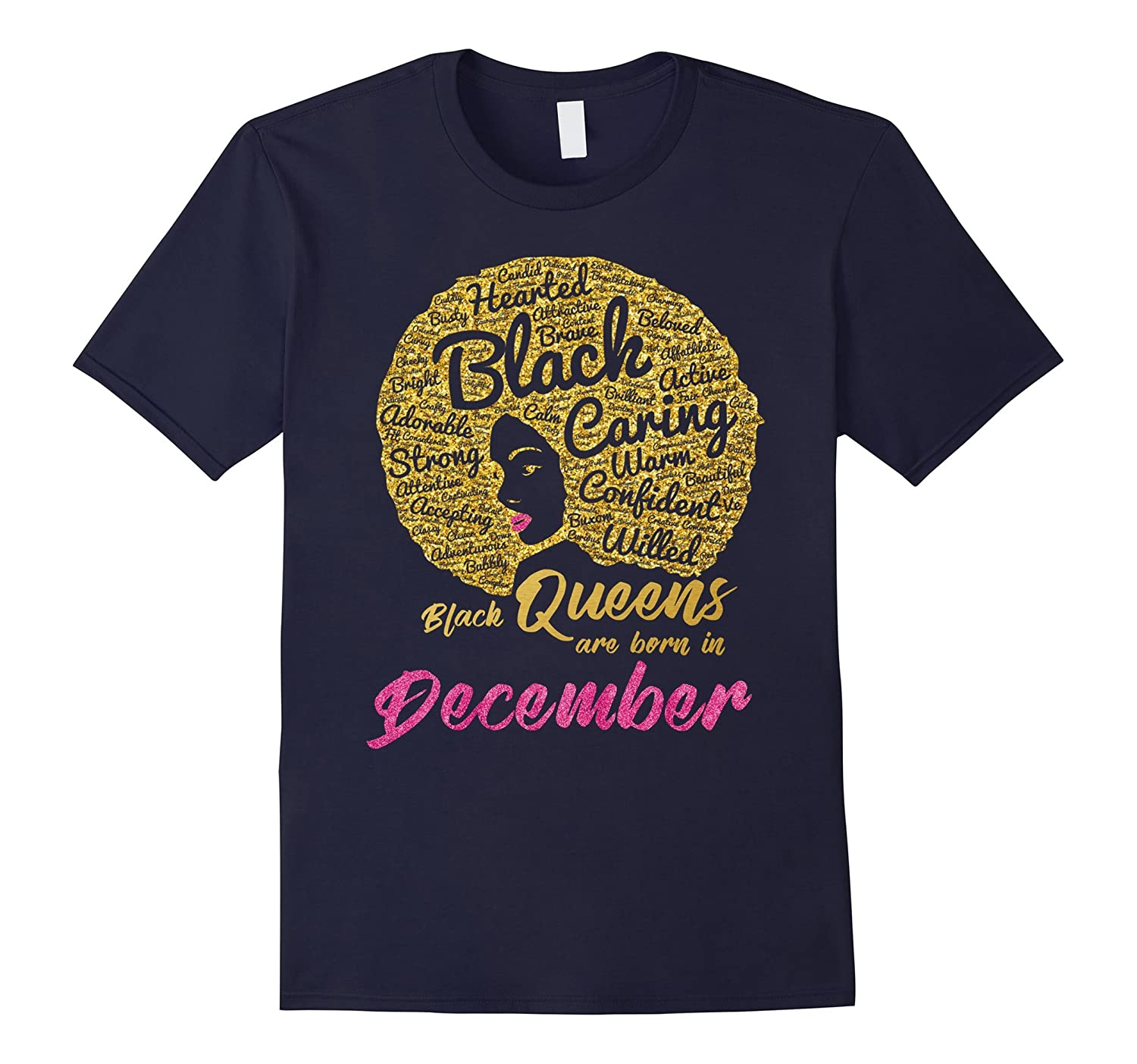 Black Queens Are Born In December Birthday T-Shirt for Women-TH