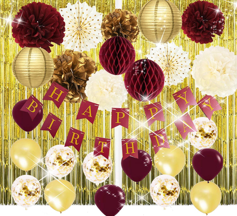 Burgundy Gold Birthday Party Decorations Burgundy Gold HAPPY BIRTHDAY Banner Tssue Pom Pom Glold Foil Curtain Ballons Polka Dot Fans for Burgundy Fall Birthday Party Supplies/30th Birthday Decorations