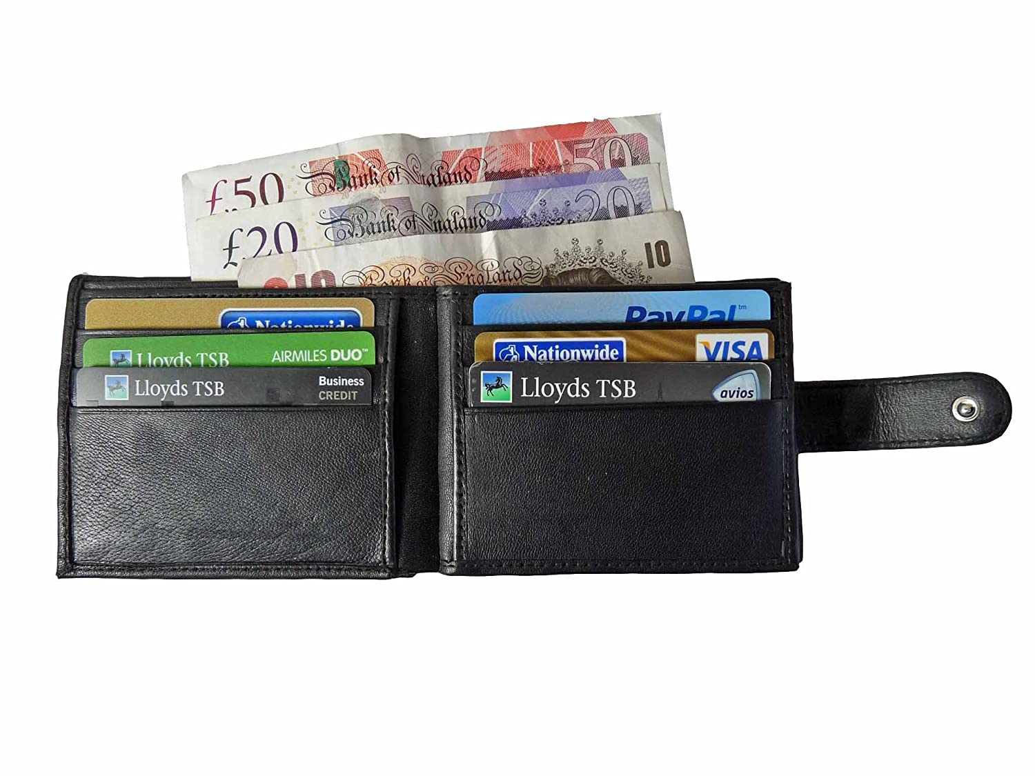 Mens Bifold Trifold Roamlite Wallet Soft Black Sheep Real Leather