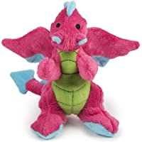 goDog Dragon With Chew Guard Technology Tough Plush Dog Toy, Pink, Small, Bright Pink, 770973