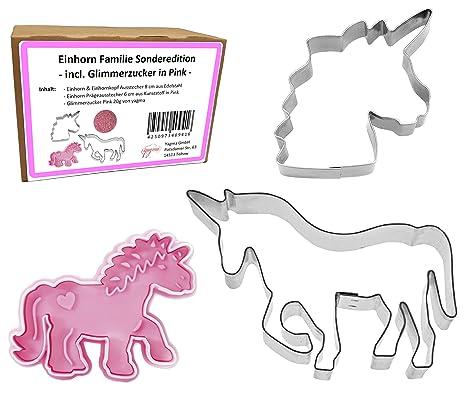 Moldes para galletas Familia de Unicornio (Unicornio 10 cm, Cortador con expulsor 6 cm, ...
