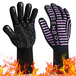 Semboh 932℉ Extreme Heat Resistant BBQ Gloves, Food Grade Kitchen Oven Mitts(B,P) (Purple, Palm Width 4.9 in)