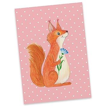 G... Postkarten Postkarte Eichhörnchen mit Blume Einladungskarte Postkarte