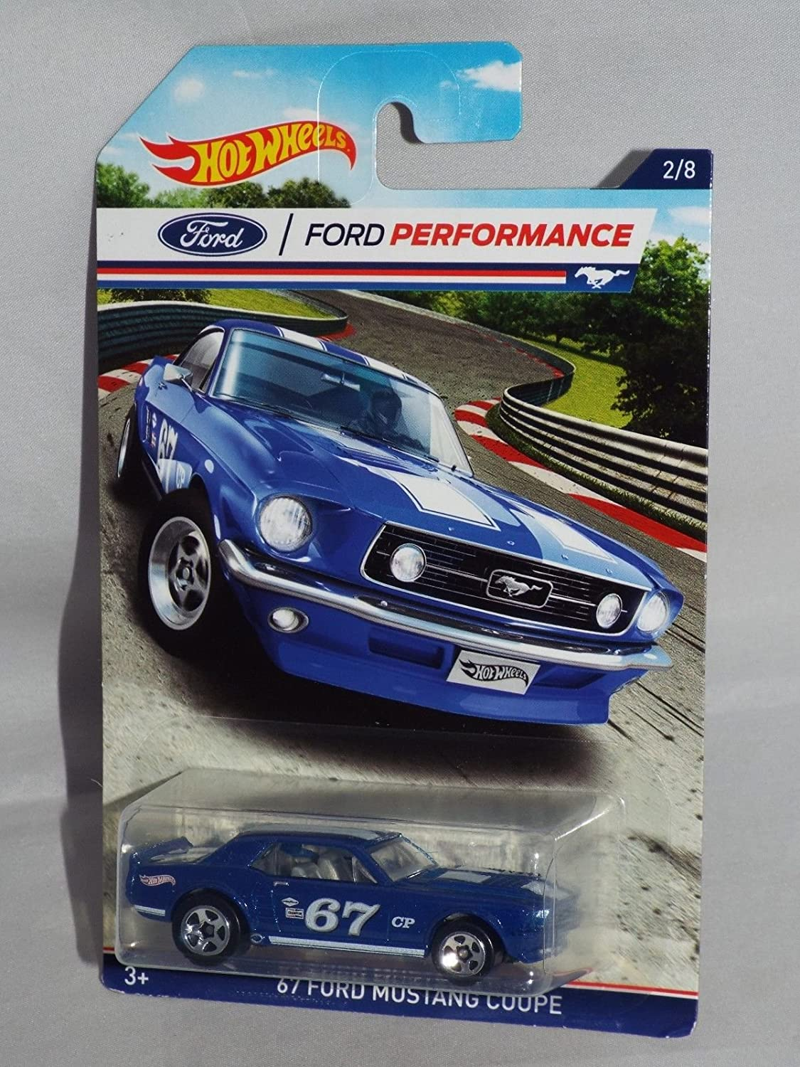 Amazon com hot wheels ford performance blue 67 ford mustang coupe 2 8 toys games