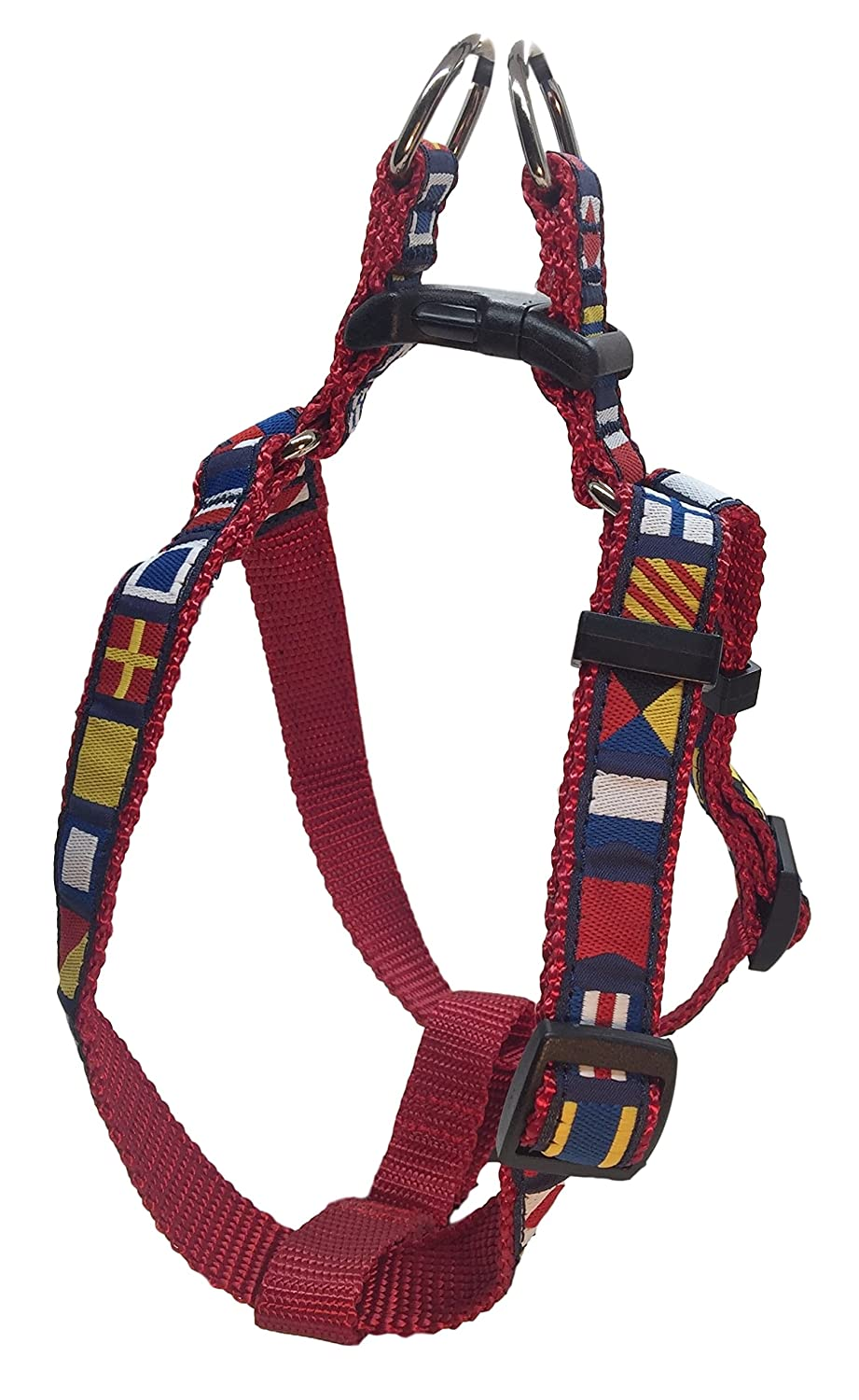 (Extra Small) Preston Nautical Code Flag Step in Dog Harness Multi Colour Ribbon on Red Nylon Webbing