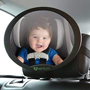 Venture Baby Car Mirror, safest rear view oval baby seat mirror for rear facing baby seat , easy install onto car rear seat headrest , fully adjustable with swivel and tilt function, anti-vibration mount , PREMIUM SAFETY Product
