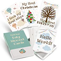 Milestone Cards for Baby Shower Gifts – Large 50 Card Set in Keepsake Box - Capture and Personalise Cherished Moments - Unisex Design by a Mum