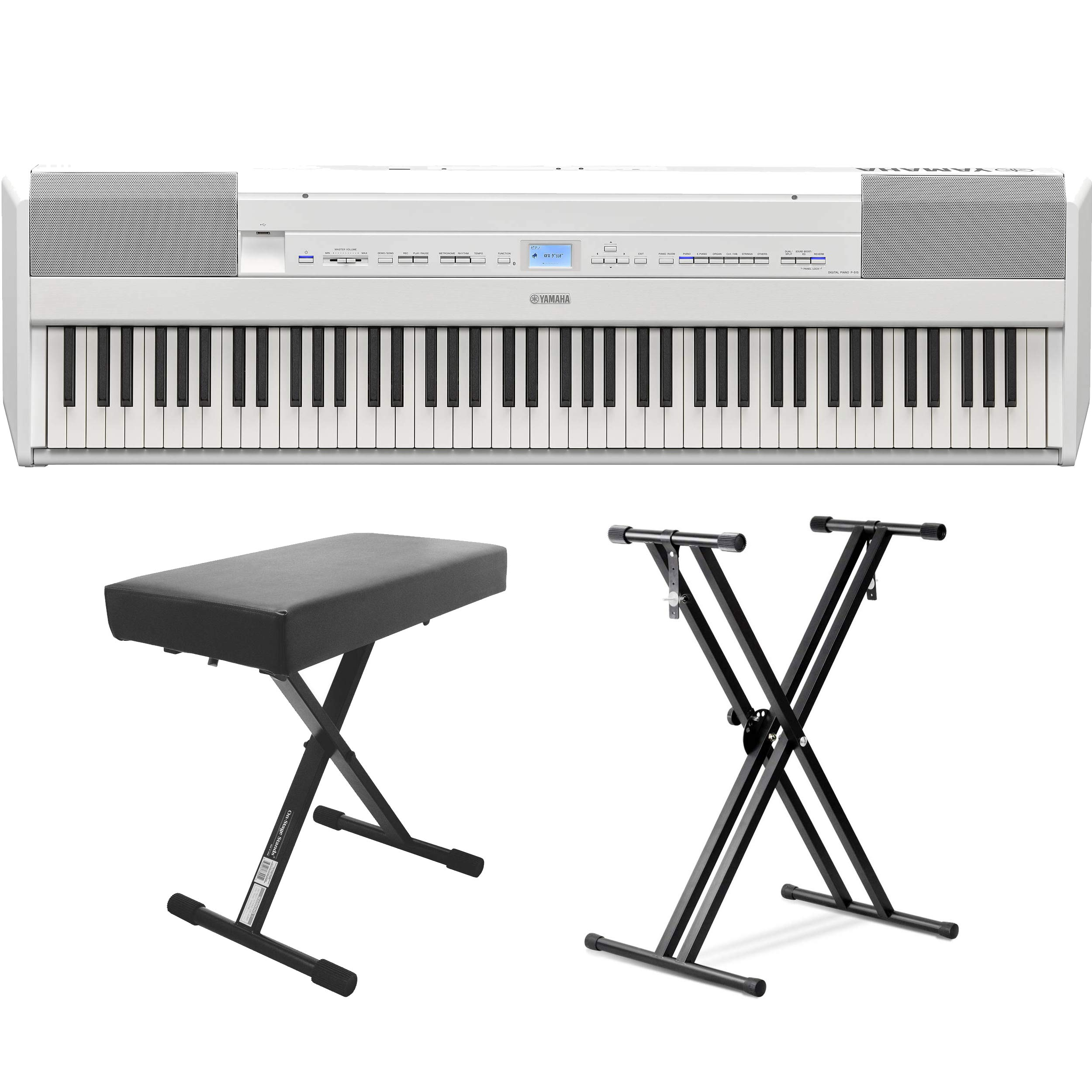 Yamaha P-515 88-Key Portable Digital Piano (White) (with double braced stand and bench) by YamahaBundle