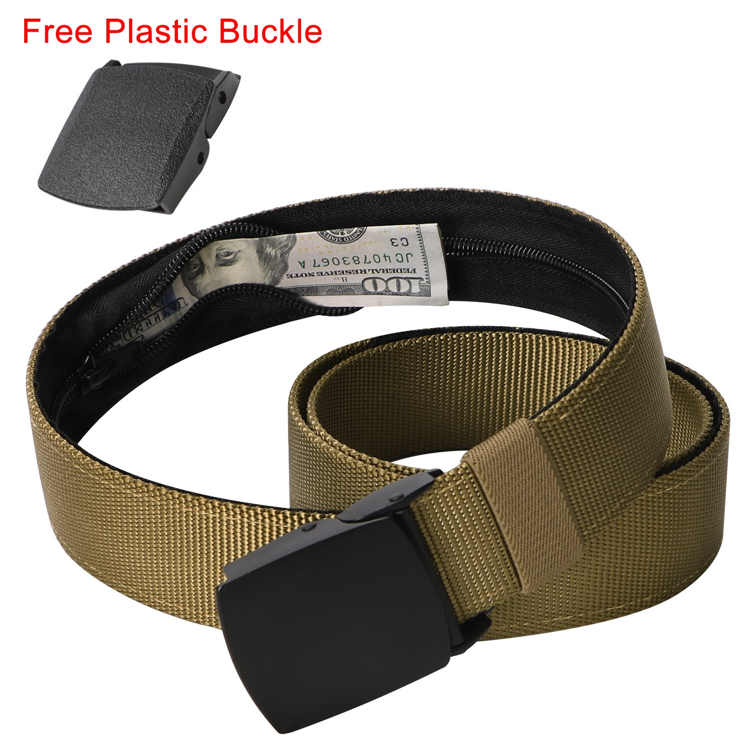 Coyote Brown Nylon Belt with Hidden Money Pocket, Travel Money Belt Wallet Pouch with Alloy Metal Buckle