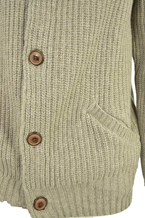 Amazon.com: Up to Date Jacket Man Wool Knit English Rib - Buttons Grey, Sand: Clothing