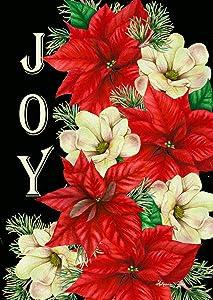 """Briarwood Lane Joy Poinsettias Christmas Garden Flag Floral Greenery 12.5"""" x 18"""""""