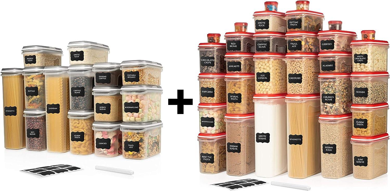 ULTIMATE LARGEST Set of 56 Pc Food Storage Containers (28 Container Set) Green and LARGEST Set of 30 Pc Food Storage Containers (15 Container Set) Red