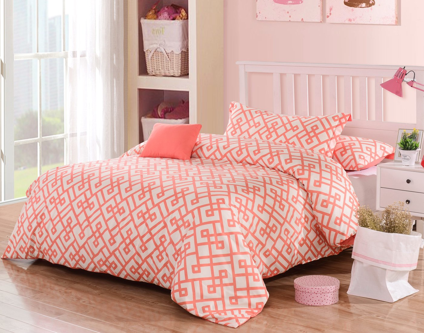 Honeymoon 1600T Brushed Microfiber 3PC Duvet Cover Set, Luxury Soft, Full/Queen - Coral