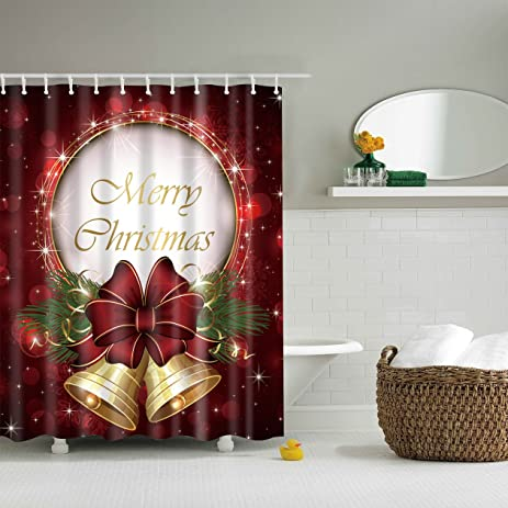 lepier christmas shower curtain set with hooks 48x72 inches card bells waterproof polyester fabric bathroom decoration - Christmas Shower Curtain Set
