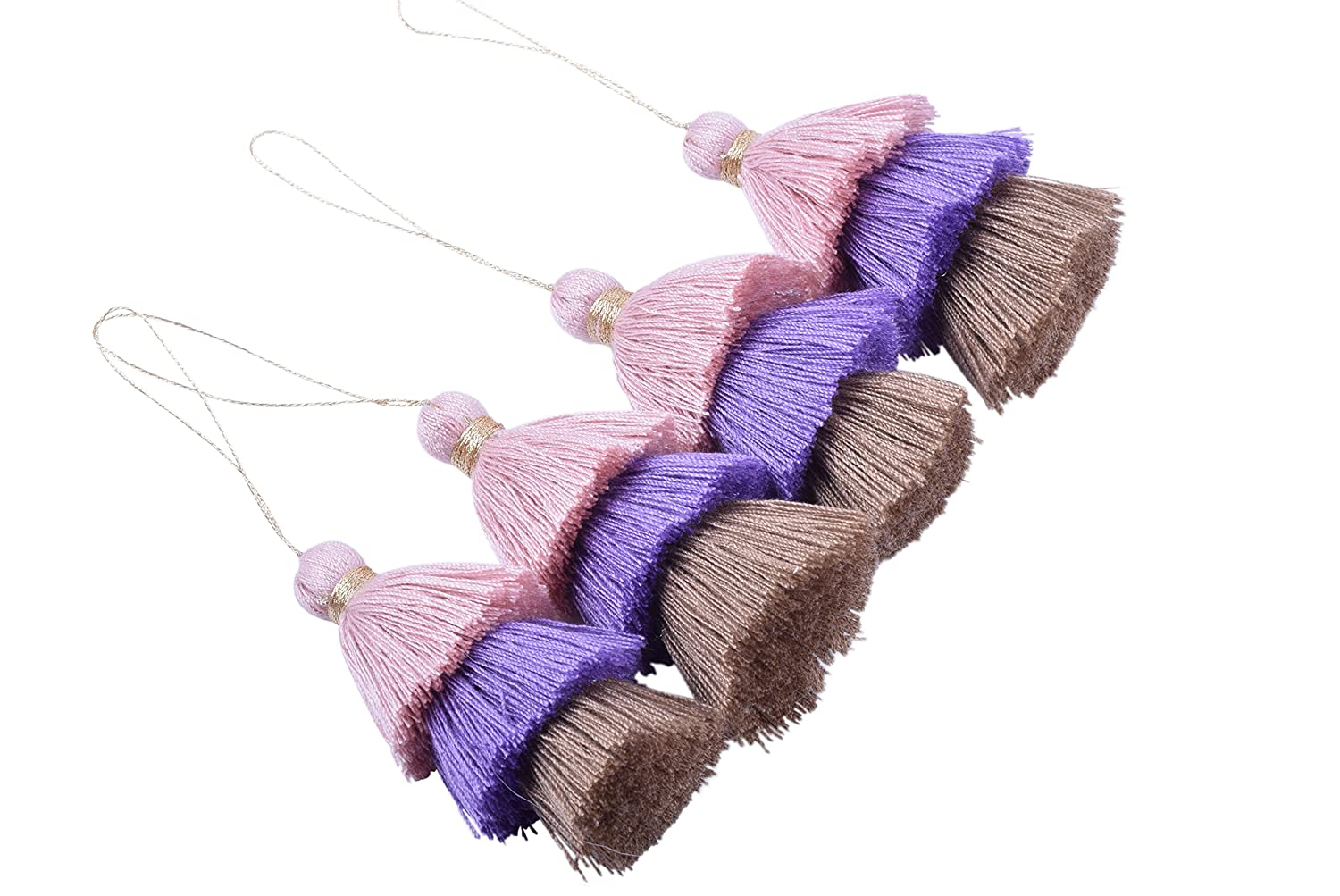 KONMAY 4pcs Tri-Layered Tassels with Hanging Loop for Jewelry Making, Clothing KMTS004SP