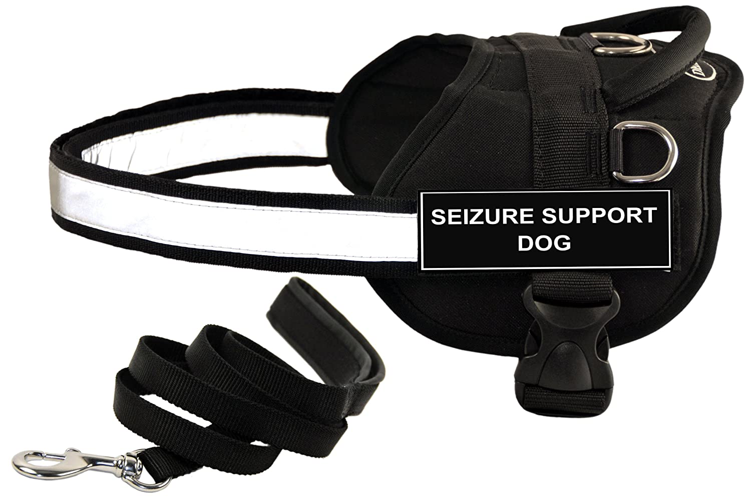 Dean and Tyler Bundle One DT Works Harness, Seizure Support Dog, XXSmall (18, 21) + One Padded Puppy Leash, 6-Feet Stainless Steel Snap, Black