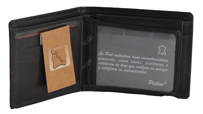 Pielini -Cartera de caballero en piel de vacuno mod 1106, con multiples departamentos y monedero, negro: Amazon.es: Zapatos y complementos