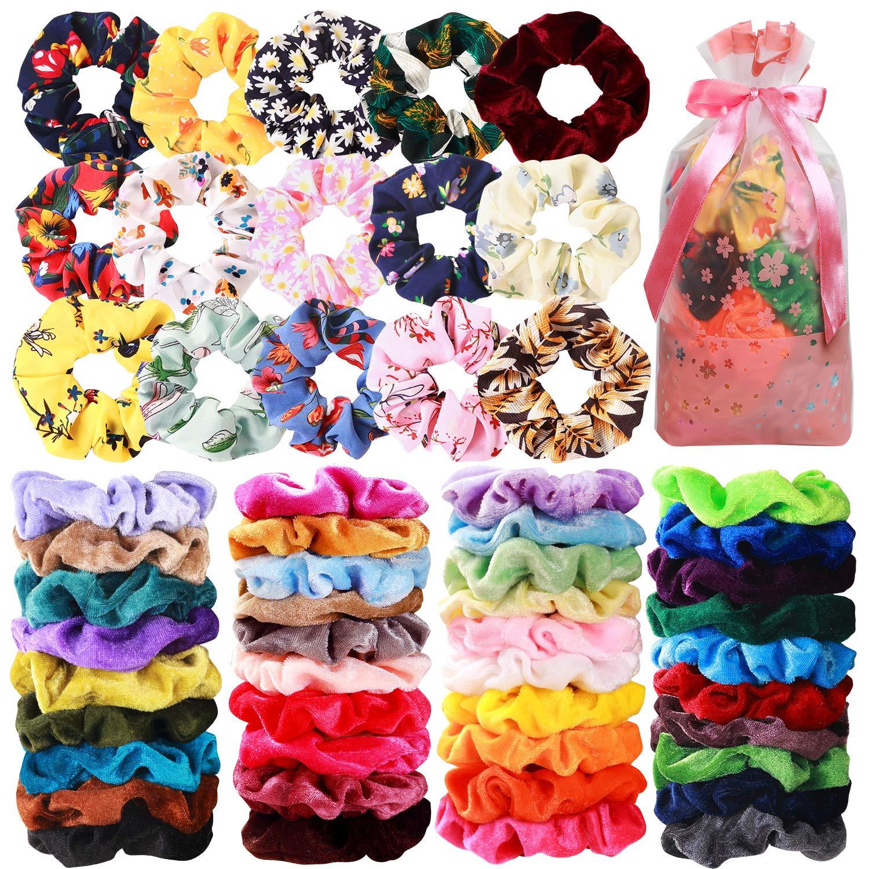 54 Pcs Hair Scrunchies 40 Velvet Hair Scrunchies 14 Chiffon Flower Hair Scrunchies Hair Elastic Scrunchy Ties Ropes Scrunchie for Women or Girls Hair Accessories, 54 Assorted Colors Scrunchies