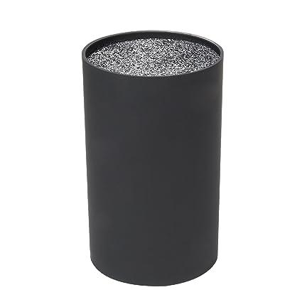 Bloque para almacenar cuchillos, con filamentos, universal, color negro, 18 cm de alto, 11 cm de diámetro