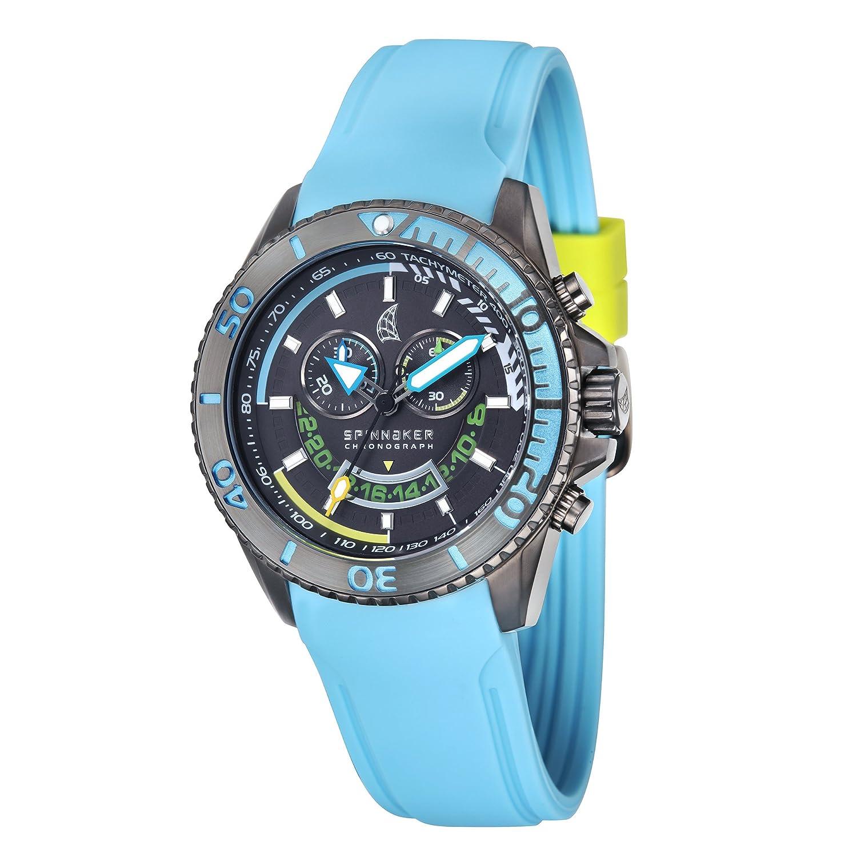 Spinnaker – sp-5021 – 05 – Amalfi – Armbanduhr – Quarz Chronograph – Zifferblatt schwarz Armband Silikon TÜrkis