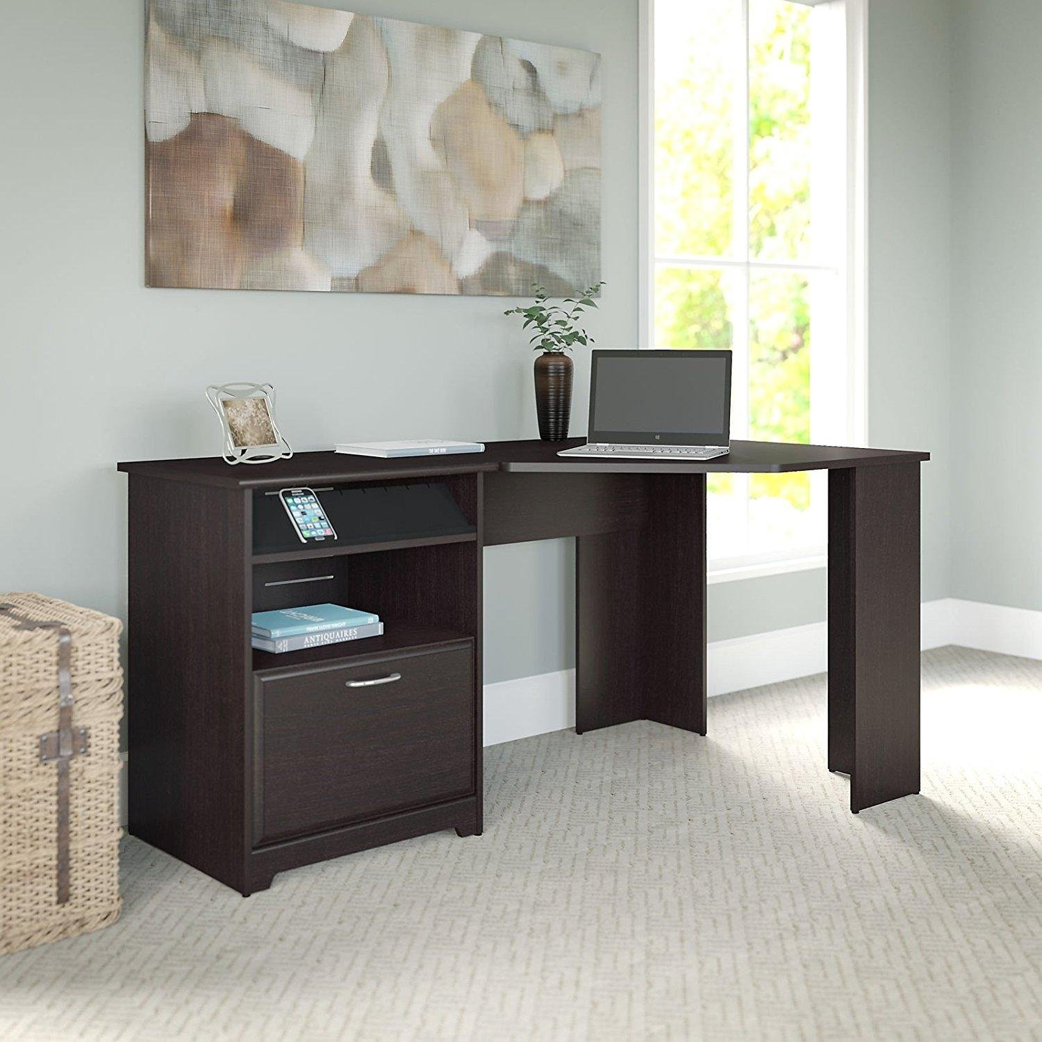 Dark Brown Modern Corner Computer Desk | Perfect Space Saving Contemporary Home Office or College Student Dorm Room Storage Table for Your PC, Laptop, Monitor, Books, Papers and Supplies
