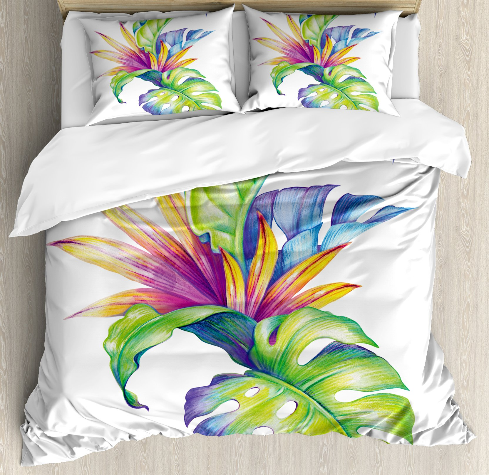 Ambesonne Plant Duvet Cover Set King Size by, Tropical Leaves and Monstera with Abstract Color Scheme Hawaiian Floral Elements, Decorative 3 Piece Bedding Set with 2 Pillow Shams, Multicolor