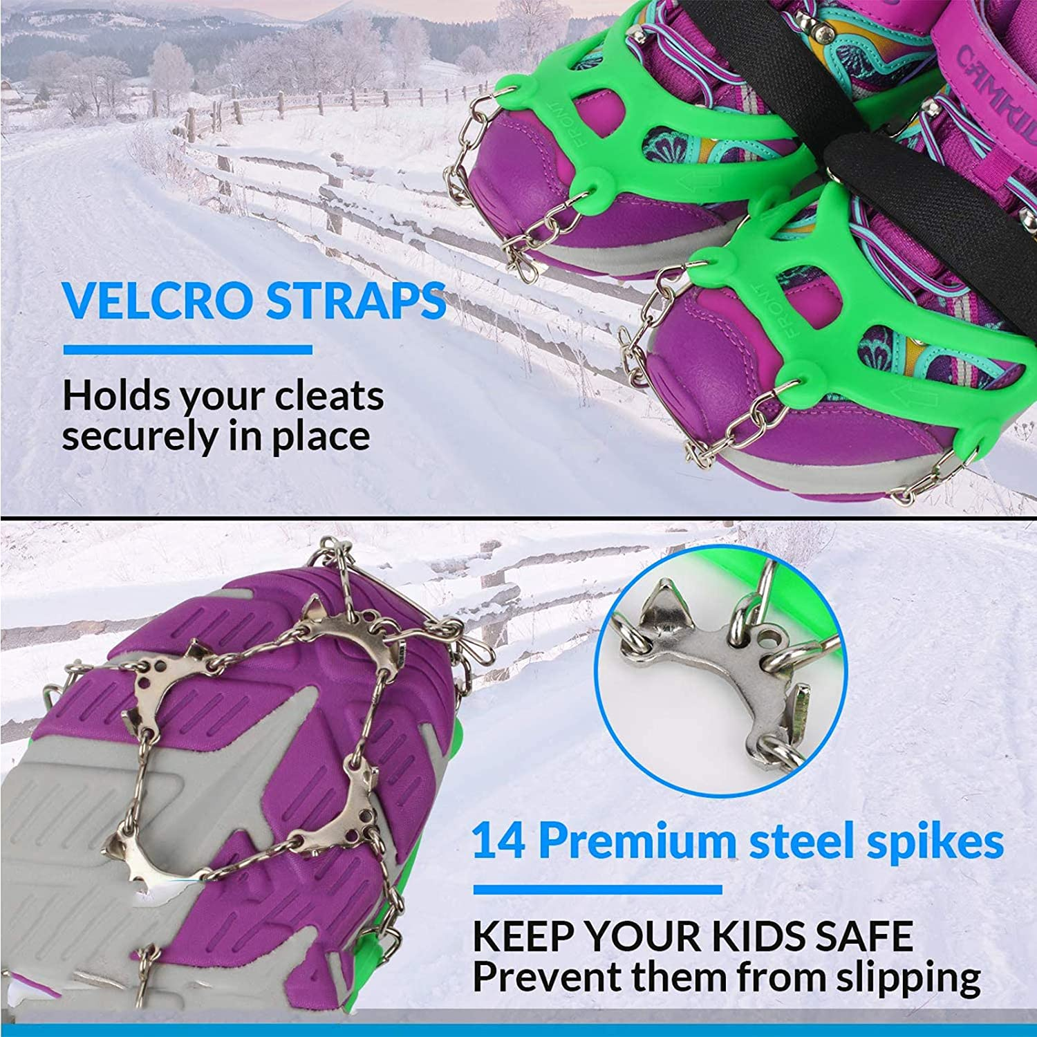 Anti Slip Traction Grippers for Boys and Girls Boots or Shoes for Hiking QQAQQ Ice Cleats for Kids Walking Snow Grips with 14 Stainless Steel Spikes Jogging on Ice Climbing